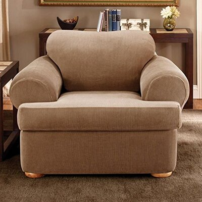 Stretch Stripe Armchair T-Cushion Slipcover Upholstery: Brown