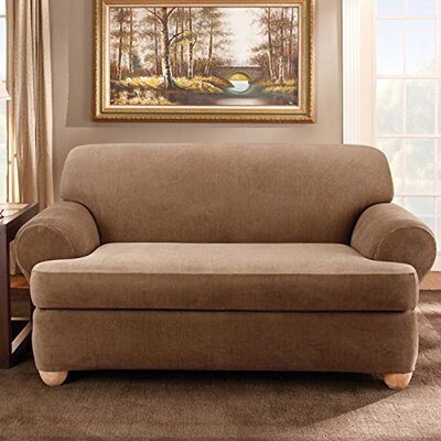 Stretch Stripe T-Cushion Sofa Slipcover Upholstery: Brown