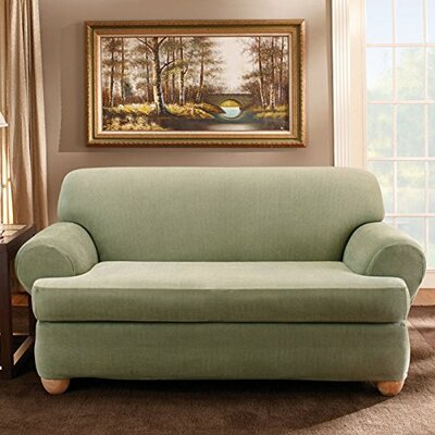 Stretch Stripe Sofa T-Cushion Slipcover Upholstery: Sage