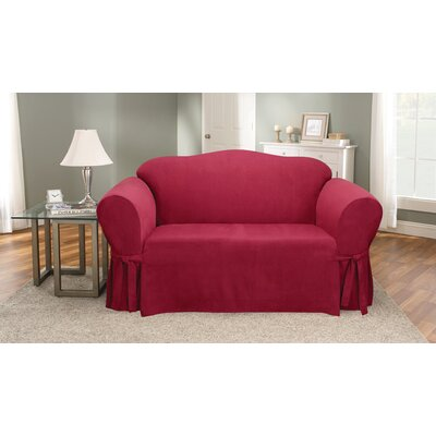 Soft Suede Box Cushion Loveseat Slipcover Upholstery: Burgundy