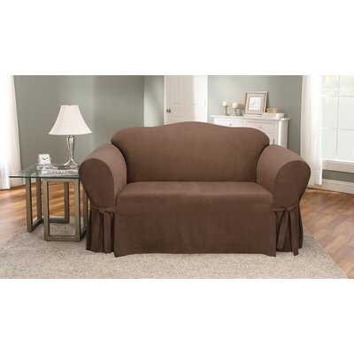 Soft Suede Loveseat Slipcover Upholstery: Chocolate
