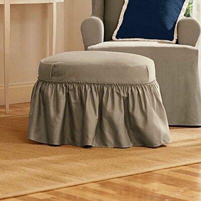 Cotton Duck Ottoman Slipcover Upholstery: Linen
