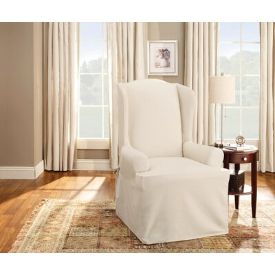 Cotton Duck T-Cushion Wingback Slipcover Upholstery: Natural