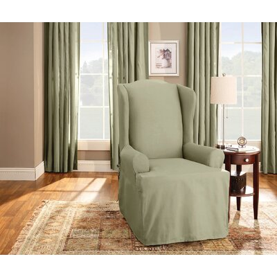 Cotton Duck T-Cushion Wingback Slipcover Upholstery: Sage