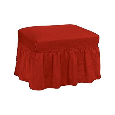 Cotton Duck Ottoman Slipcover Upholstery: Claret
