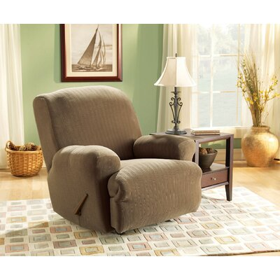 Stretch Pinstripe Recliner Slipcover Upholstery: Taupe
