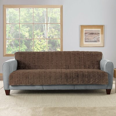 Faux Fur Quilted Loveseat Slipcover Upholstery: Chocolate