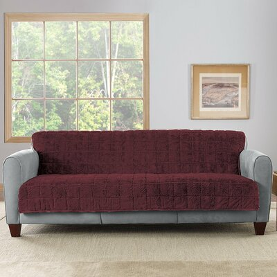Box Cushion Loveseat Slipcover Upholstery: Sangria