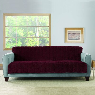 Faux Fur Quilted Sofa Slipcover Upholstery: Sangria