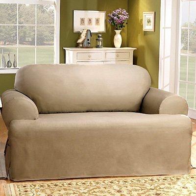 Cotton Duck T-Cushion Loveseat Slipcover Upholstery: Linen