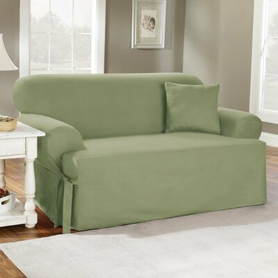 Cotton Duck T-Cushion Loveseat Slipcover Upholstery: Sage