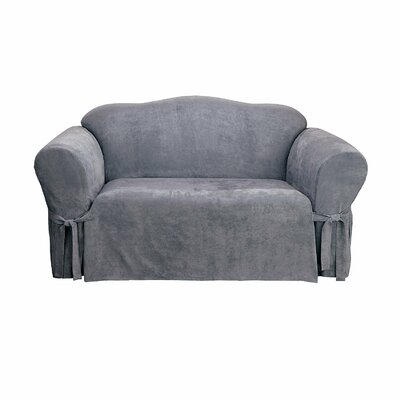 Soft Suede Box Cushion Loveseat Slipcover Upholstery: Smoke Blue
