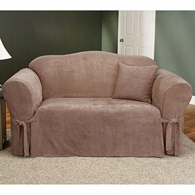 Soft Suede Box Cushion Loveseat Slipcover Upholstery: Taupe