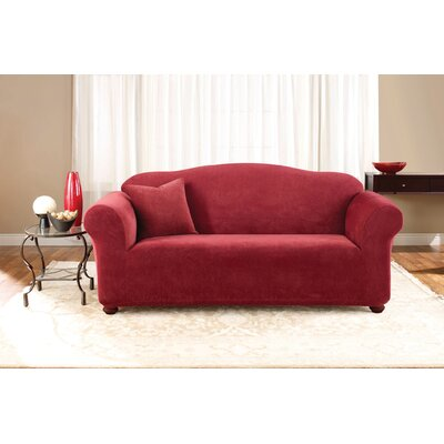 Stretch Pique Box Cushion Sofa Slipcover Upholstery: Claret