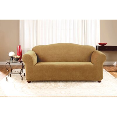 Stretch Pique Separate Seat Sofa Slipcover Upholstery: Antique