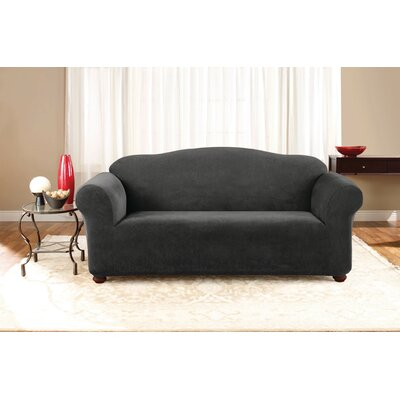 Stretch Pique Box Cushion Sofa Slipcover Upholstery: Black