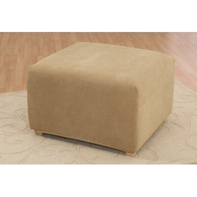 Stretch Pique Ottoman Slipcover Upholstery: Antique
