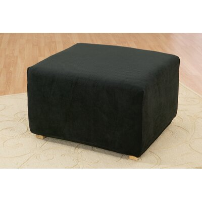 Stretch Pique Ottoman Slipcover Upholstery: Black