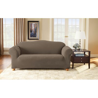 Stretch Pique Separate Seat Sofa Slipcover Upholstery: Taupe