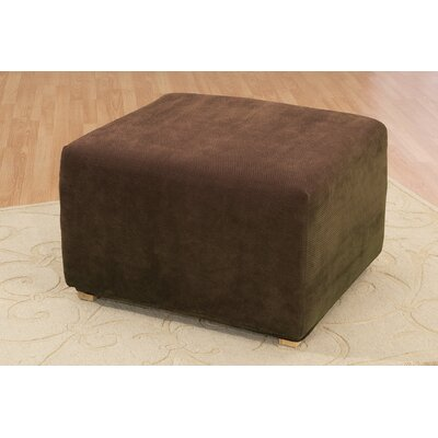 Stretch Pique Ottoman Slipcover Upholstery: Chocolate