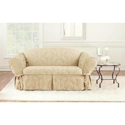 Matelasse Damask Box Cushion Loveseat Slipcover Upholstery: Tan