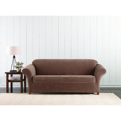 Stretch Corduroy Box Cushion Sofa Slipcover