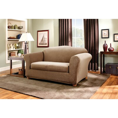 Stretch Stripe Loveseat Slipcover Upholstery: Brown
