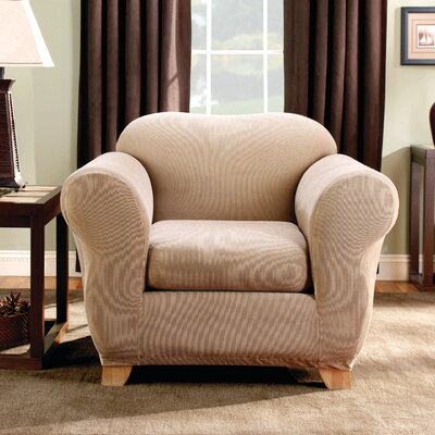 Stretch Stripe Armchair Slipcover Upholstery: Sand