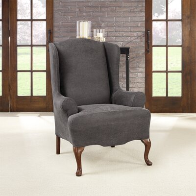 Ultimate Stretch Faux Leather Wing Arm Chair Slipcover Upholstery: Antiqued Slate