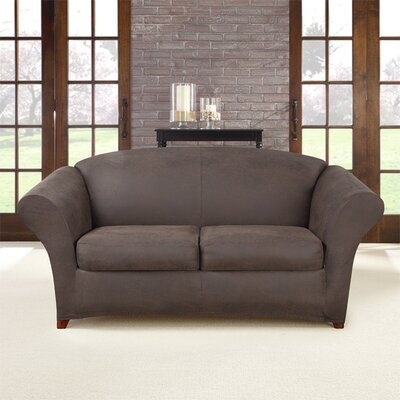 Ultimate Stretch Box Cushion Loveseat Slipcover Upholstery: Weathered Saddle