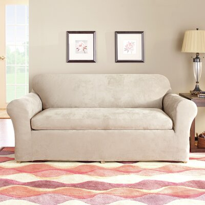 Stretch Suede Separate Seat Box Cushion Sofa Slipcover Upholstery: Oatmeal
