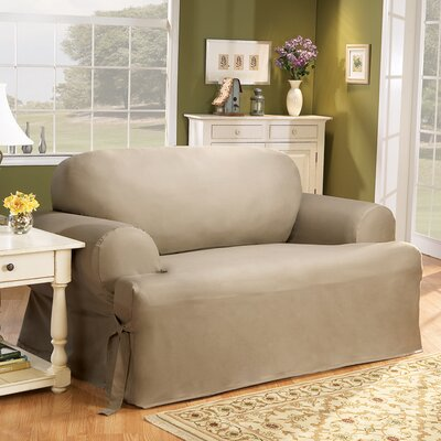 Cotton Duck Sofa T-Cushion Slipcover Upholstery: Linen