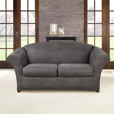 Ultimate Stretch Box Cushion Loveseat Slipcover Upholstery: Antiqued Slate