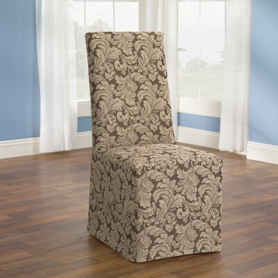 Scroll Classic Dining Chair Skirted Slipcover Upholstery: Brown