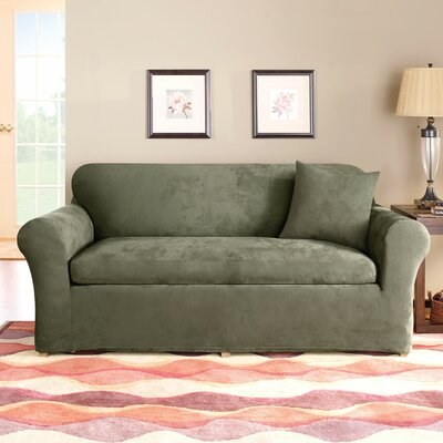 3 Piece Stretch Suede Polyester Sofa Slipcover Set Upholstery: Dark Green