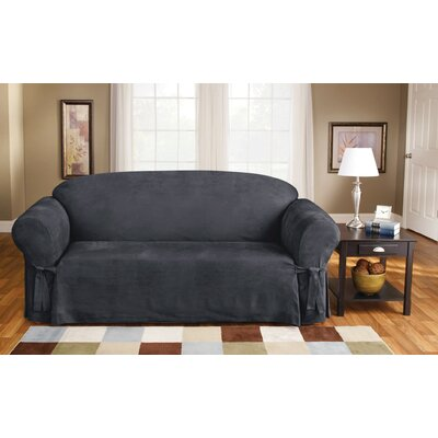 Soft Suede Box Cushion Sofa Slipcover Upholstery: Smoke Blue