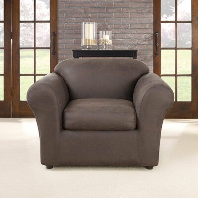 Ultimate Stretch Faux Leather Slipcover Upholstery: Weathered Saddle
