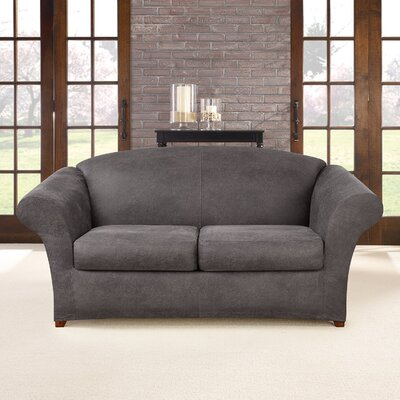 Ultimate Stretch Faux Leather 3 Piece Sofa Slipcover Upholstery: Antiqued Slate