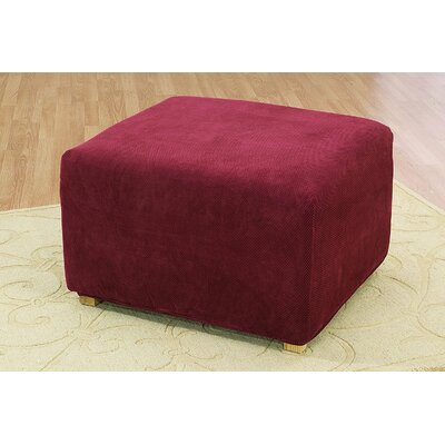 Stretch Pique Oversized Ottoman Slipcover Color: Garnet