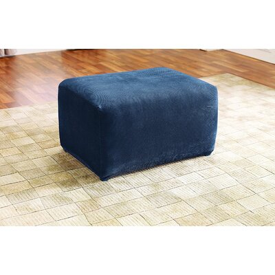 Stretch Pique Oversized Ottoman Slipcover Color: Navy