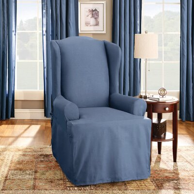 Cotton Duck T-Cushion Wingback Slipcover Upholstery: Bluestone