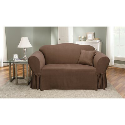 Soft Suede Polyester Sofa Slipcover Upholstery: Chocolate