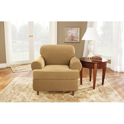 Stretch Pique T-Cushion Armchair Slipcover Upholstery: Antique