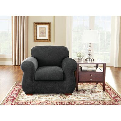 Stretch Pique Box Cushion Armchair Slipcover Upholstery: Black