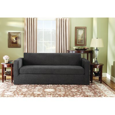 Stretch Pique Polyester Sofa Slipcover Upholstery: Black