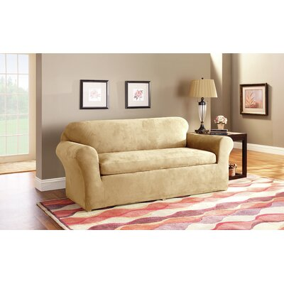 3 Piece Stretch Suede Polyester Loveseat Slipcover Set Upholstery: Camel