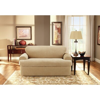 T-Cushion Loveseat Slipcover Upholstery: Cream