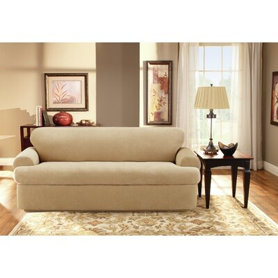 Stretch Pique T-Cushion Sofa Slipcover Upholstery: Cream