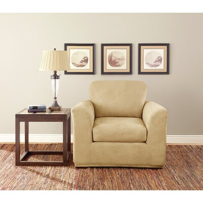 Box Cushion Armchair Slipcover Set Upholstery: Camel