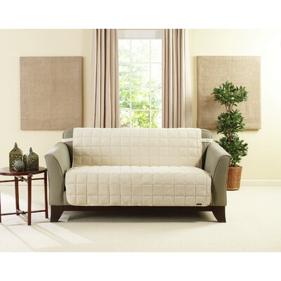 Deluxe Box Cushion Loveseat Slipcover Size: 6.5 H x 96 W x 11 D, Upholstery: Ivory